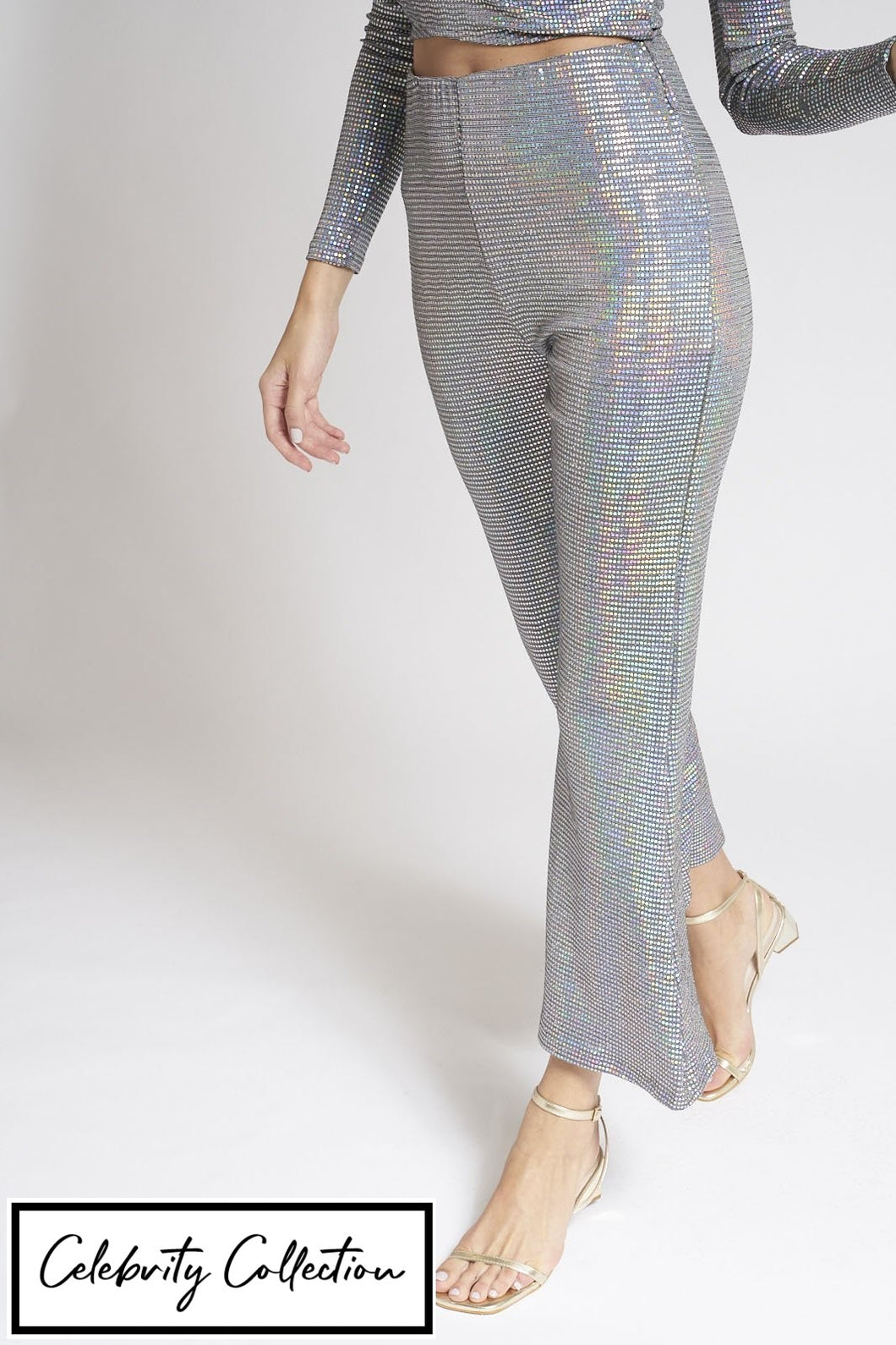 Silver Wide Leg Shimmer Trousers
