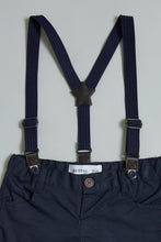Load image into Gallery viewer, Blue Shirt With Navy Trouser Suspender Short Set
