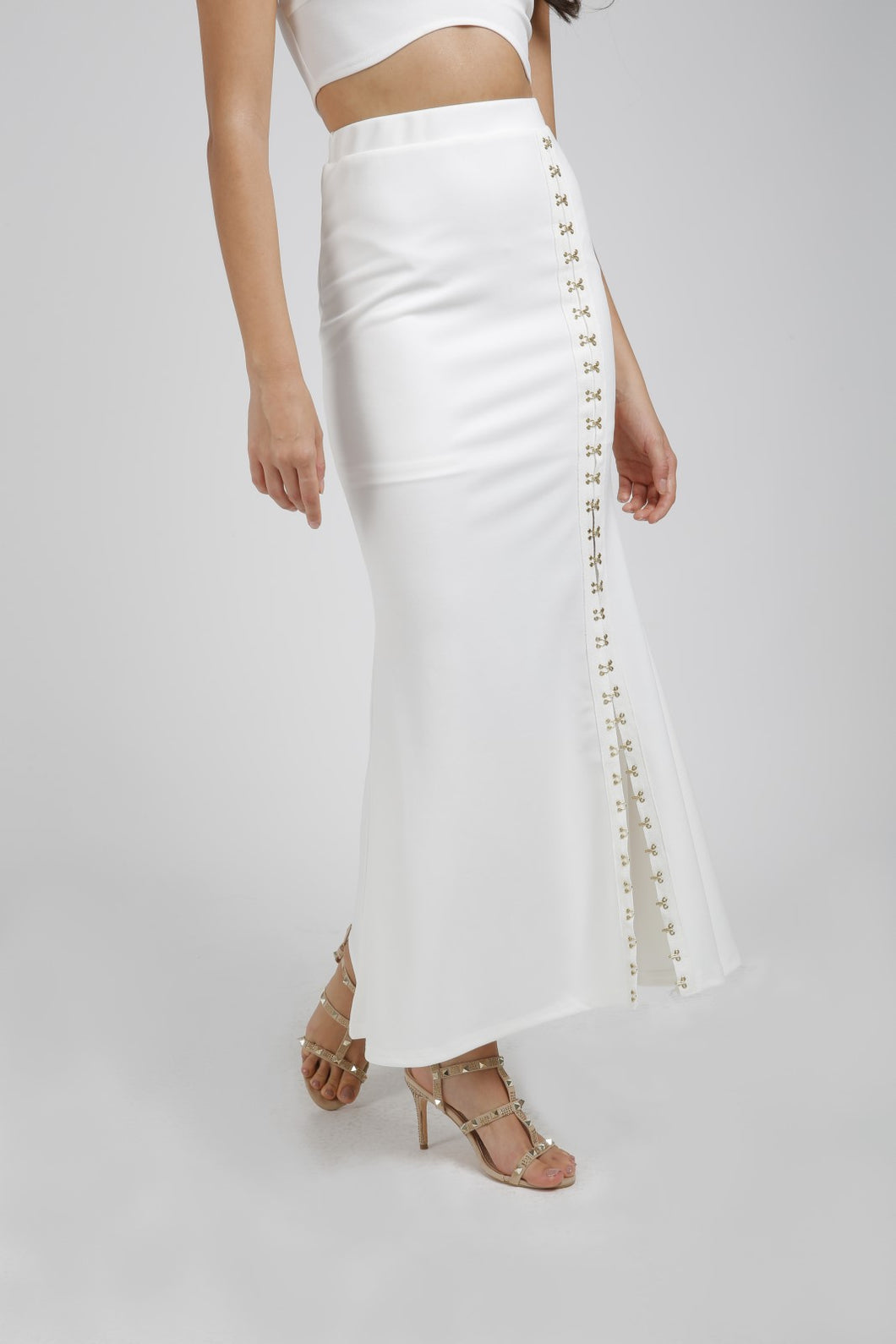 White Flared Maxi Skirt With Hook And Eye Detail