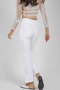 White High Waisted Flared Trouser With Belt Detail