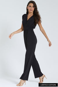 Black Sleeveless Jumpsuit With Gold Shoulder Detail
