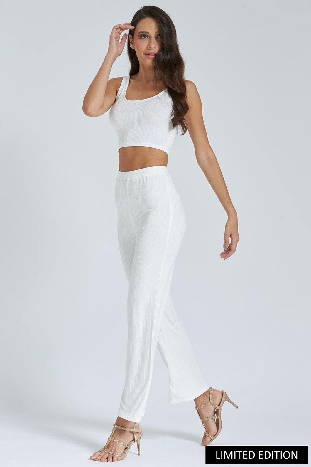 White Flared Rib Trouser