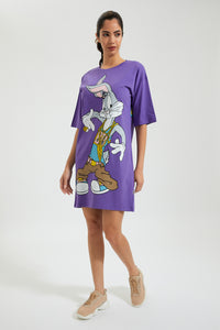 Purple Bugs Bunny Print Long T-Shirt