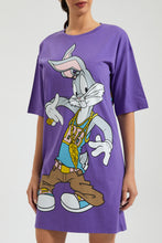 Load image into Gallery viewer, Purple Bugs Bunny Print Long T-Shirt