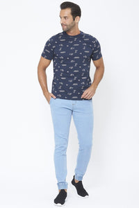 Navy Holiday Graphic Print T-Shirt