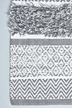 Load image into Gallery viewer, Grey Geometric Handwoven Rug
