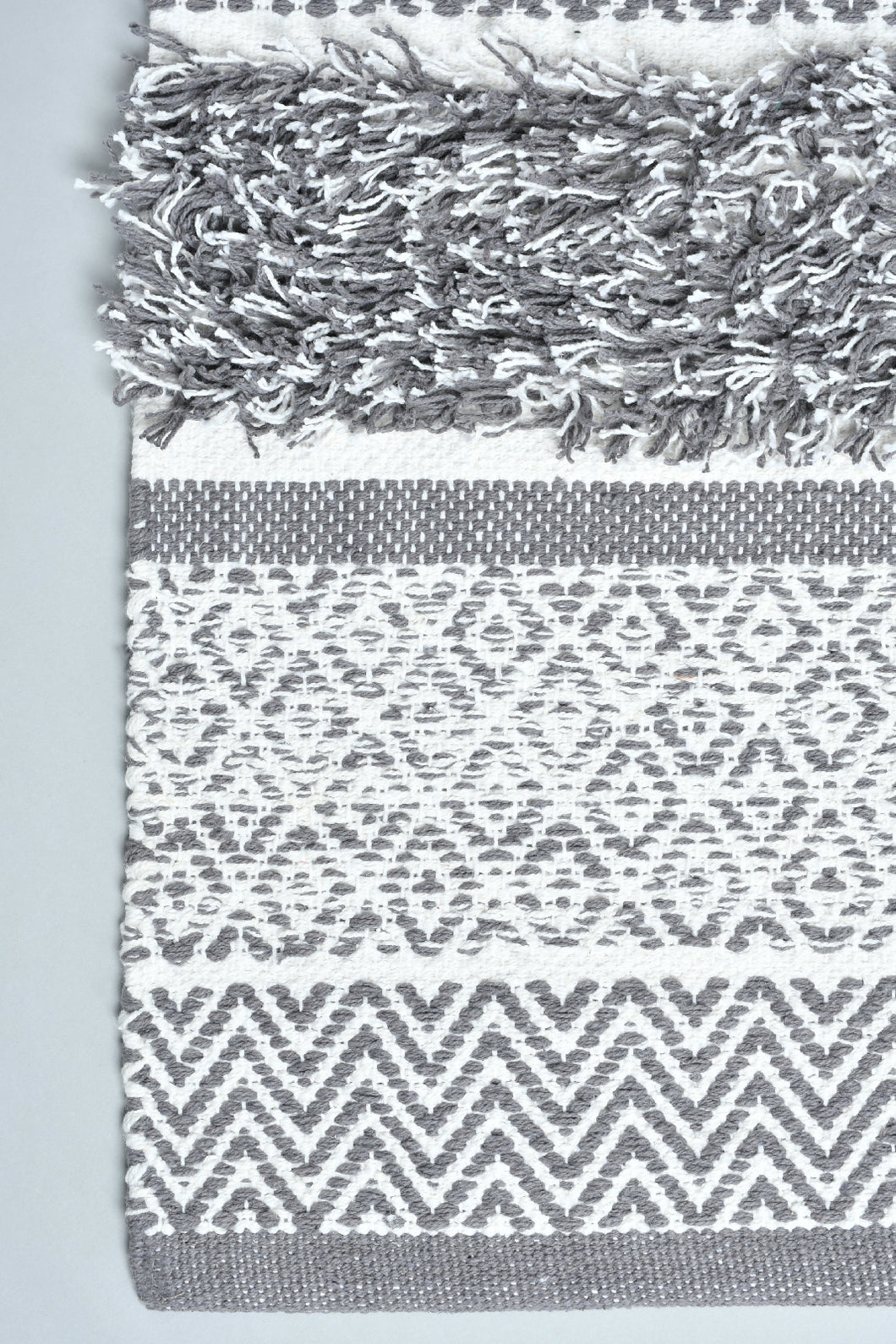Grey Geometric Handwoven Rug