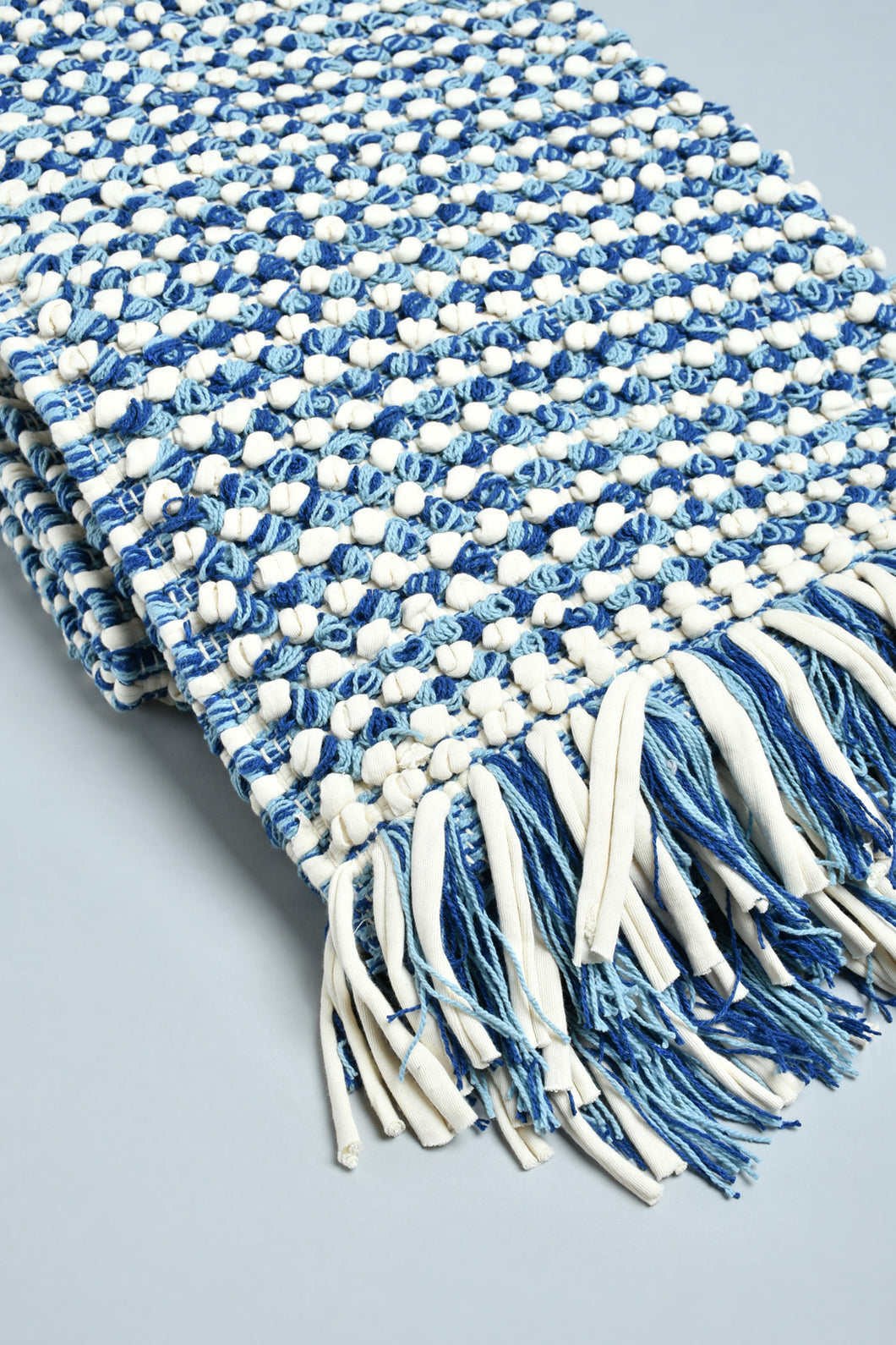 Blue Textured Handwoven Rug