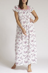 White Floral Print Nightgown