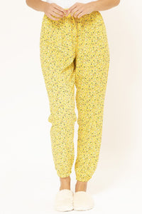Yellow Allover Floral Print Pyjama Bottom