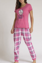 Load image into Gallery viewer, Pink T-Shirt And Pyjama Bottom Set