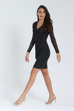 Load image into Gallery viewer, Black Bodycon Long Sleeve Dress