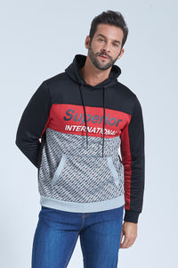 Black/Red Superior Print Overhead Hoody