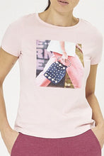 Load image into Gallery viewer, Pink Photographic Print T-Shirt With Stud Embellishment