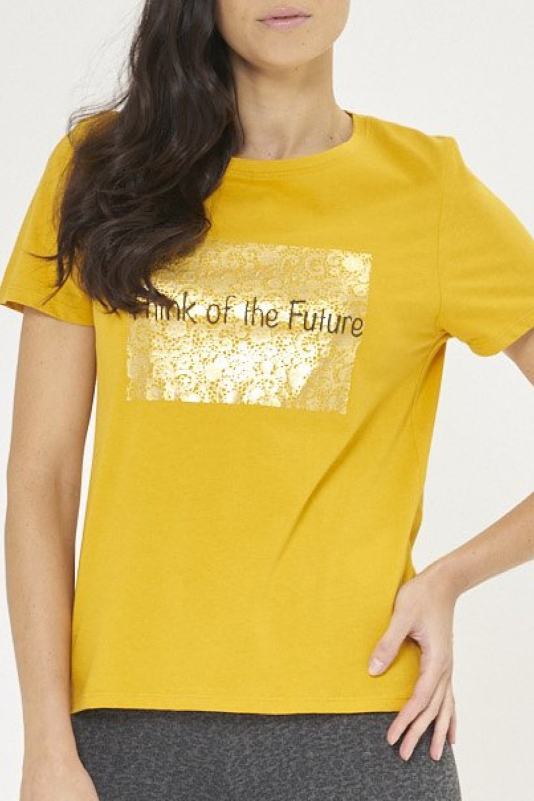 Mustard Think Of The Future Foil Print T-Shirt
