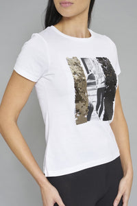 White Photographic Print + Sequins T-Shirt