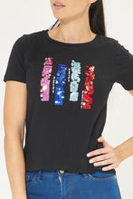 Load image into Gallery viewer, Black Abstract Sequins Embellished T-Shirt