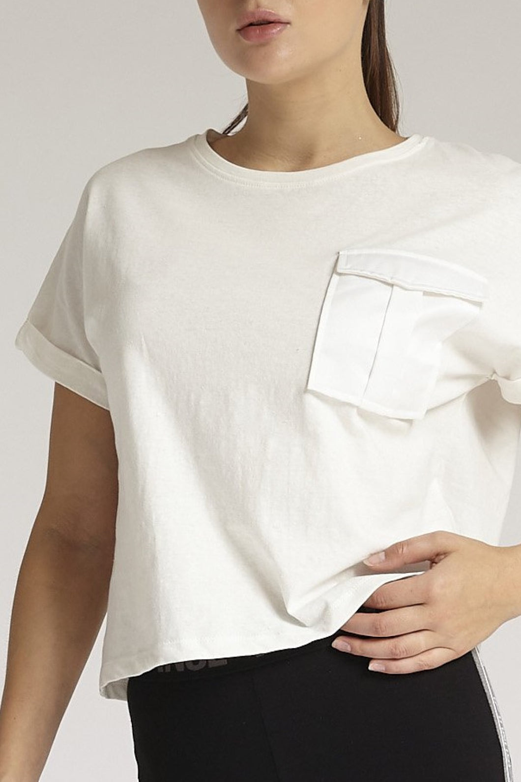 Ivory Sateen Pocket T-Shirt