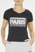 Load image into Gallery viewer, Black Paris Print T-Shirt With Sequins