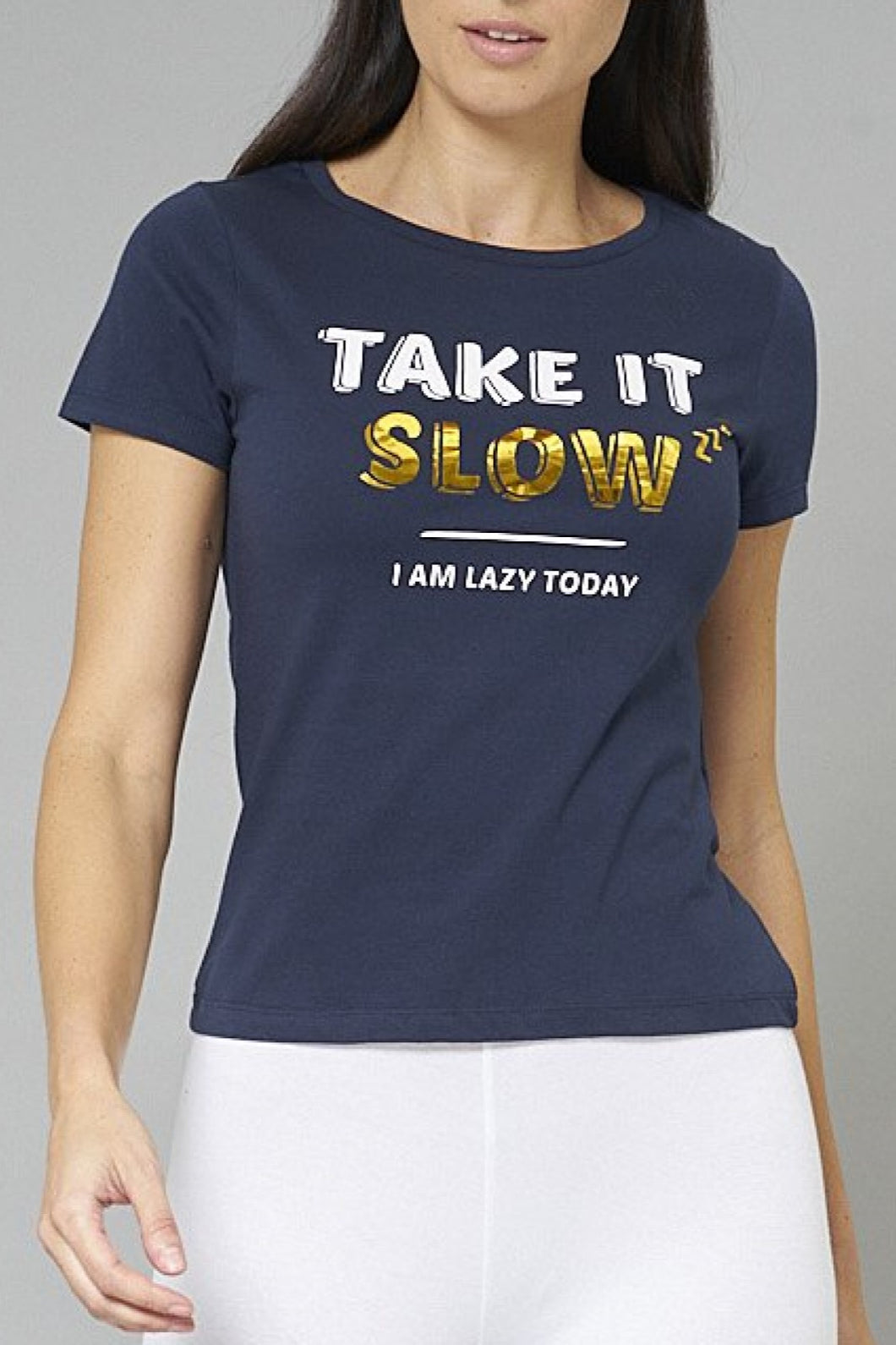 Navy Take It Slow Print T-Shirt