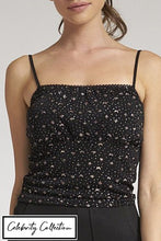 Load image into Gallery viewer, Black Glitter Print Strappy Top