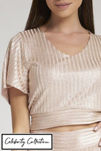 Load image into Gallery viewer, Pink Open Back Shimmer Cropped Top