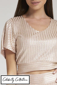 Pink Open Back Shimmer Cropped Top
