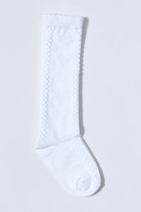 White Knee High Jacquard Socks (2-Packs)