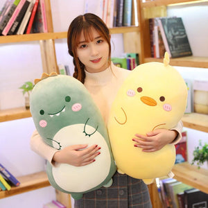 Round Chubby Animal Plushie Pillow - Dinosaur, duck, rabbit, penguin, fox, bear, pig