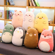 Load image into Gallery viewer, Round Chubby Animal Plushie Pillow - Dinosaur, duck, rabbit, penguin, fox, bear, pig