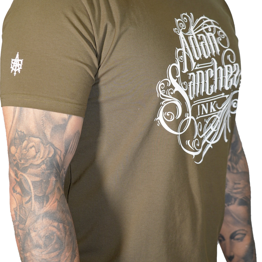 Adan Sanchez Ink Olive Green T-shirt
