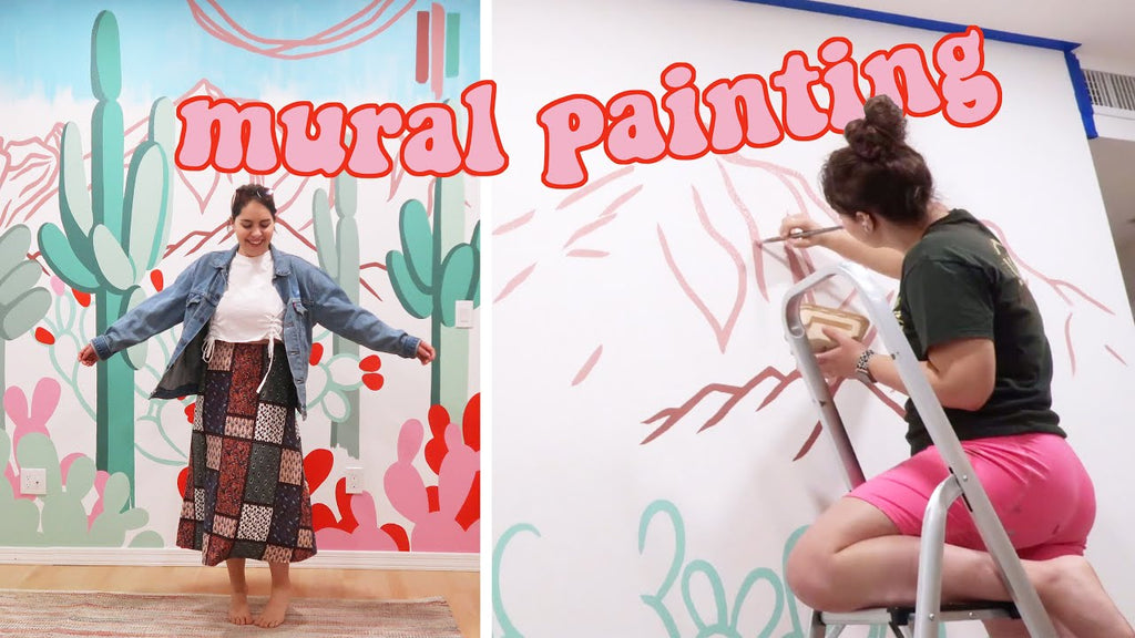 Painting a Mural in a Home Residence: Desert Landscape & Cactus Garden!
