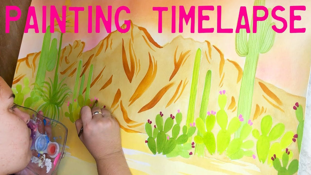 Watercolor Painting Timelapse of Camelback Mountain, an Arizona Desert Landscape