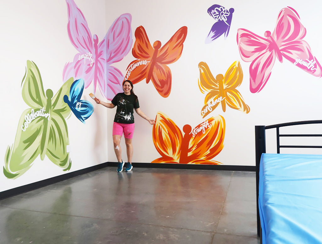 A Joyful Butterfly Mural Painting
