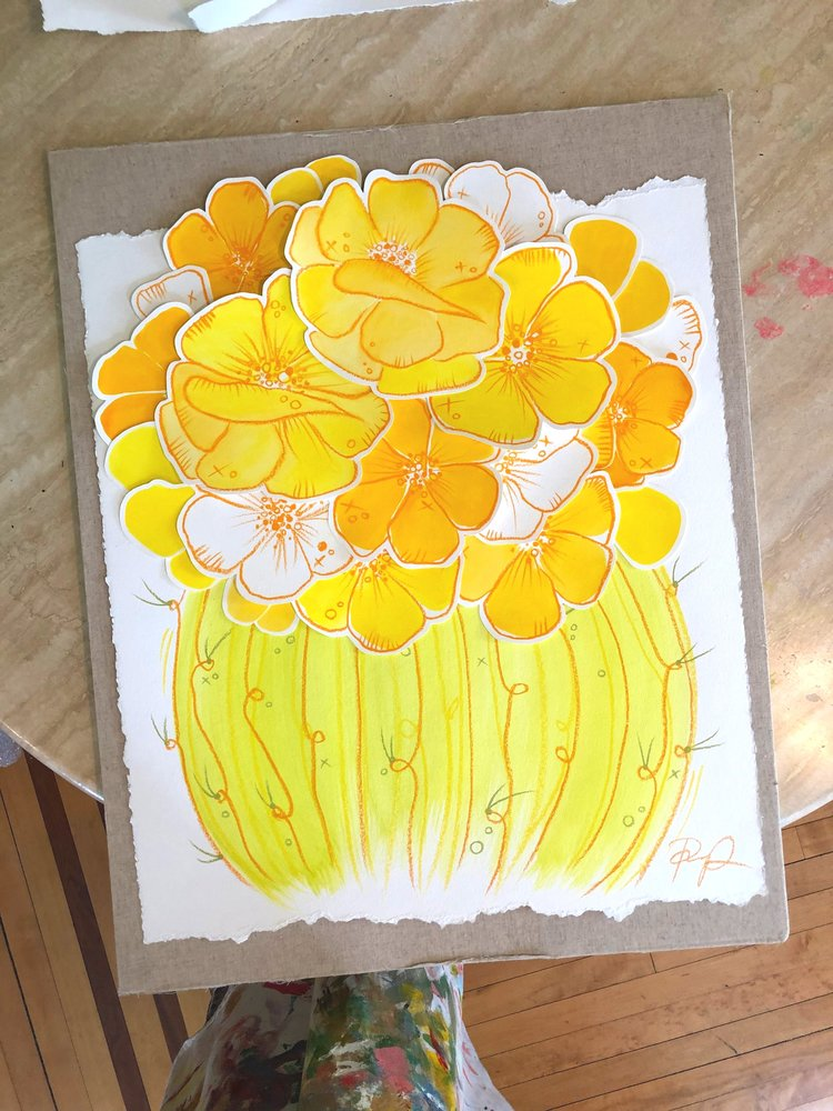 """Golden Blooming Barrel"" Original Collage Painting"