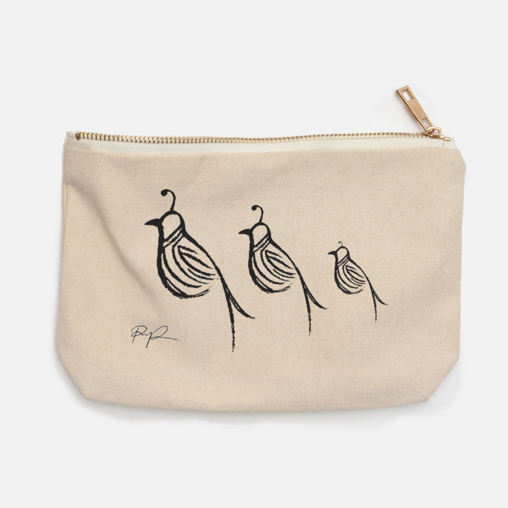 """Quail Family"" Canvas Pouch"