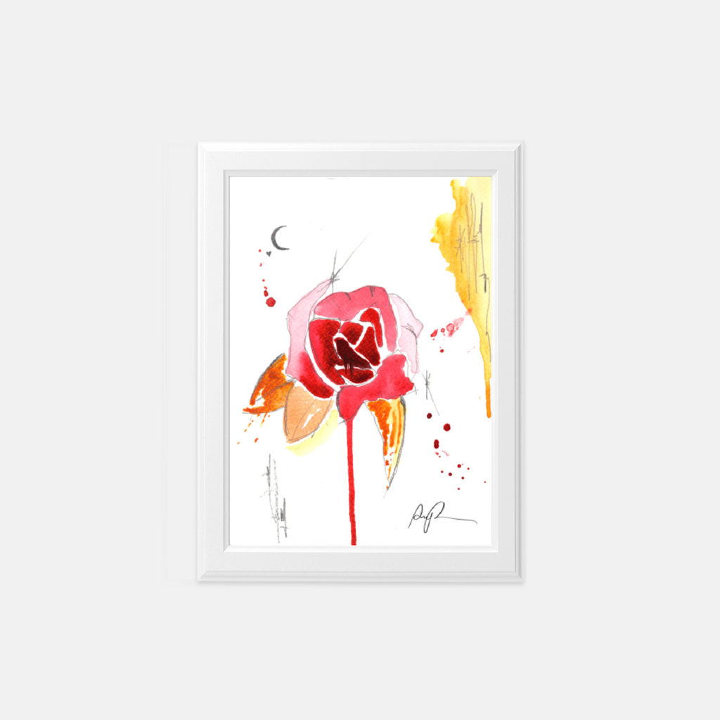 """Scratched Rose"" Watercolor Print"