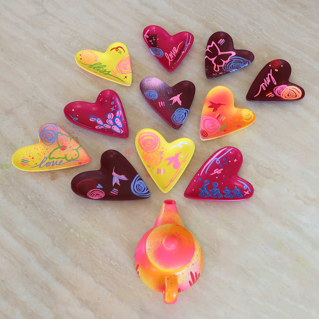 """Hummingbird Hope"" Handpainted Ceramic Heart Dish"