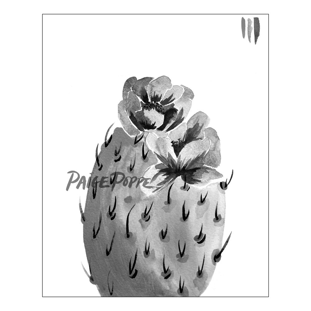 """Black Bloom"" Prickly Pear Watercolor Print"