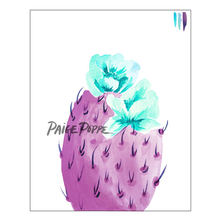 """Lilac Bloom"" Prickly Pear Watercolor Print"