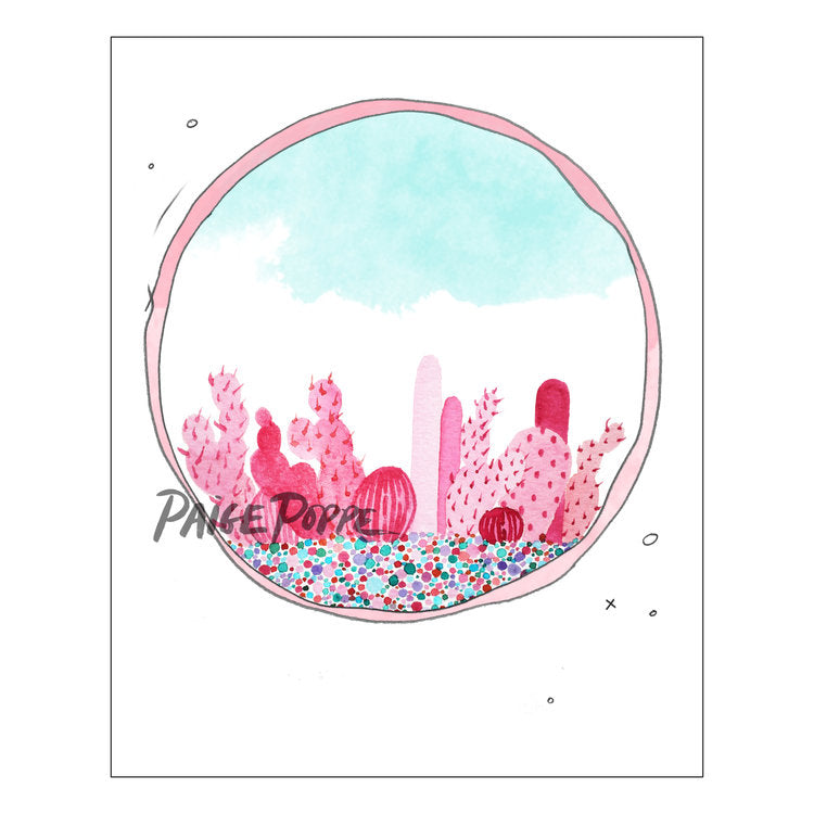 """Prickly in Pink"" Watercolor Print"