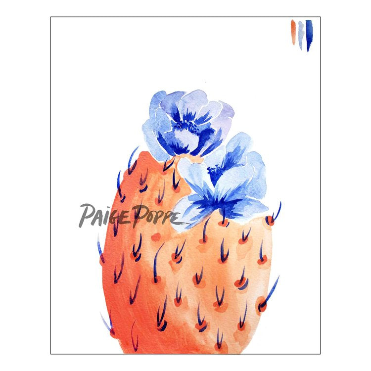 """Royal Bloom"" Prickly Pear Watercolor Print"