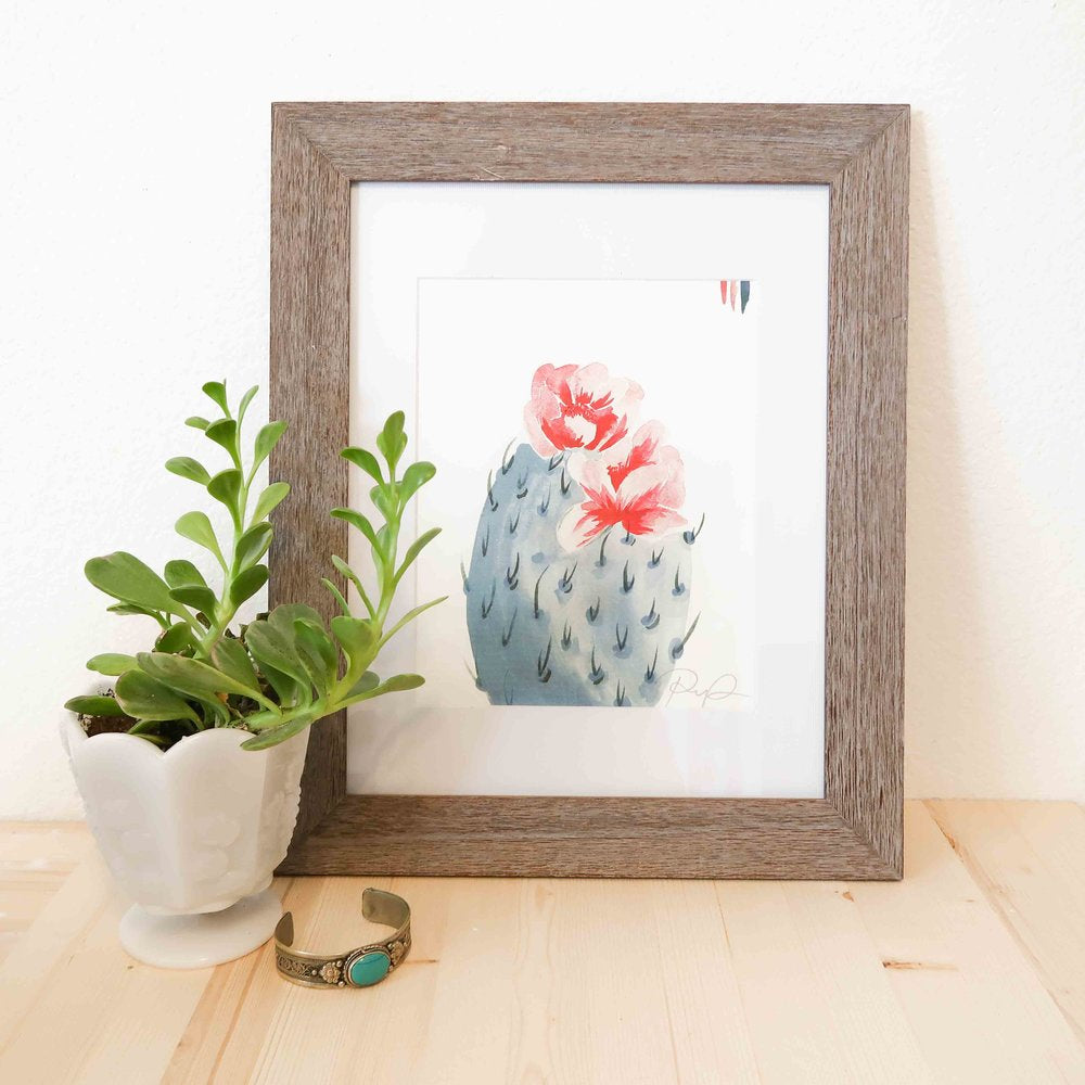 """Cherry Bloom"" Prickly Pear Watercolor Print"
