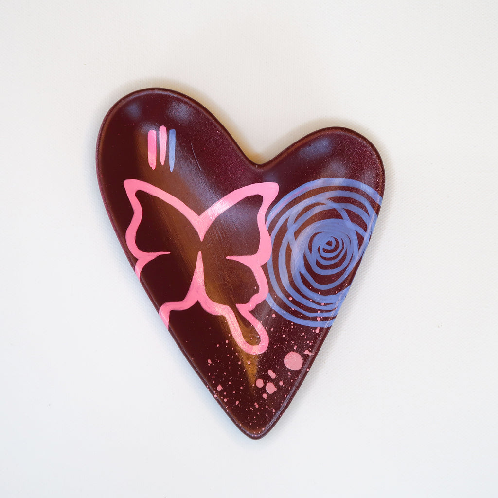 """Wings"" Handpainted Ceramic Heart Dish"