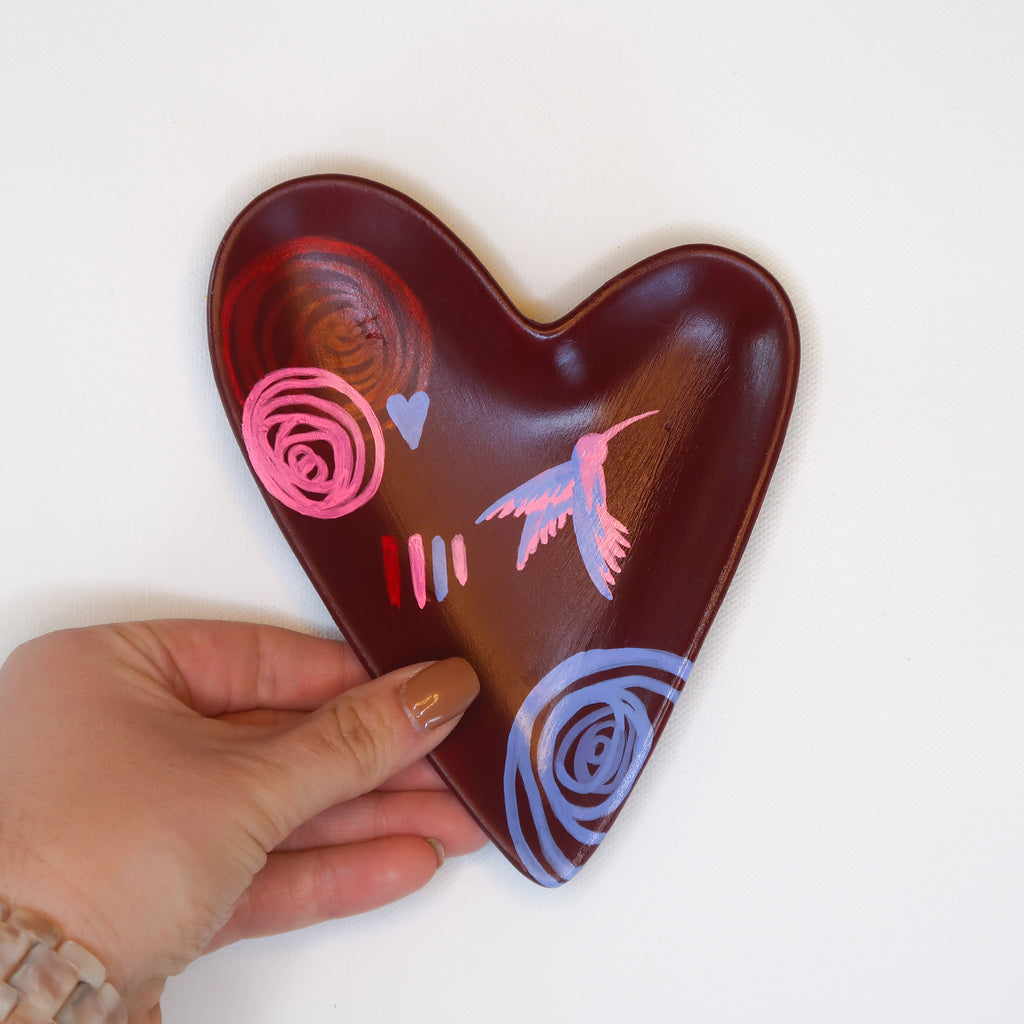 """Love Soars"" Handpainted Ceramic Heart Dish"