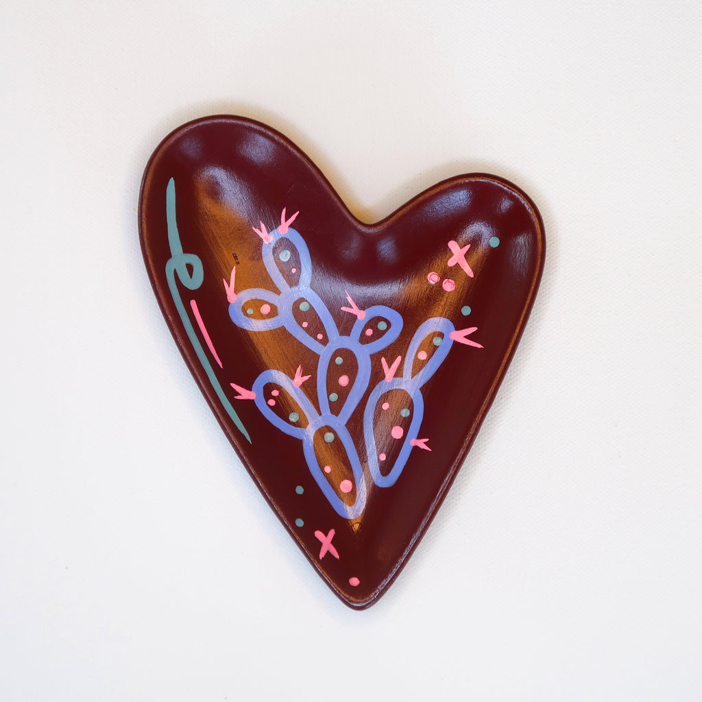 """Purple Prickly"" Handpainted Ceramic Heart Dish"