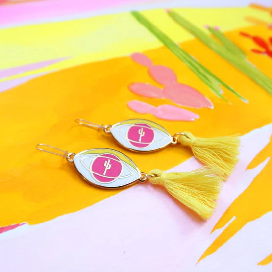 "1 left! - ""Eye of the Desert"" Yellow Tassel Earrings"