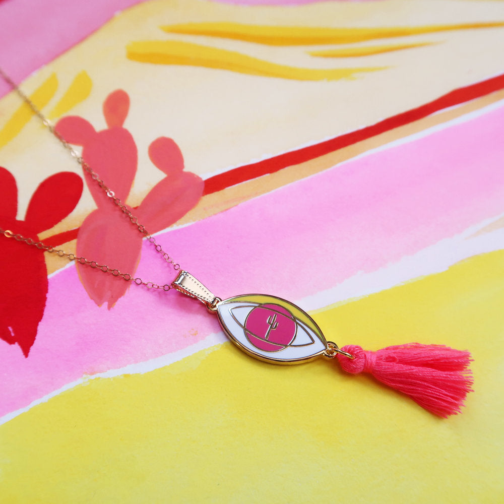 "1 left! - ""Eye of the Desert"" Pink Tassel Pendant Necklace"