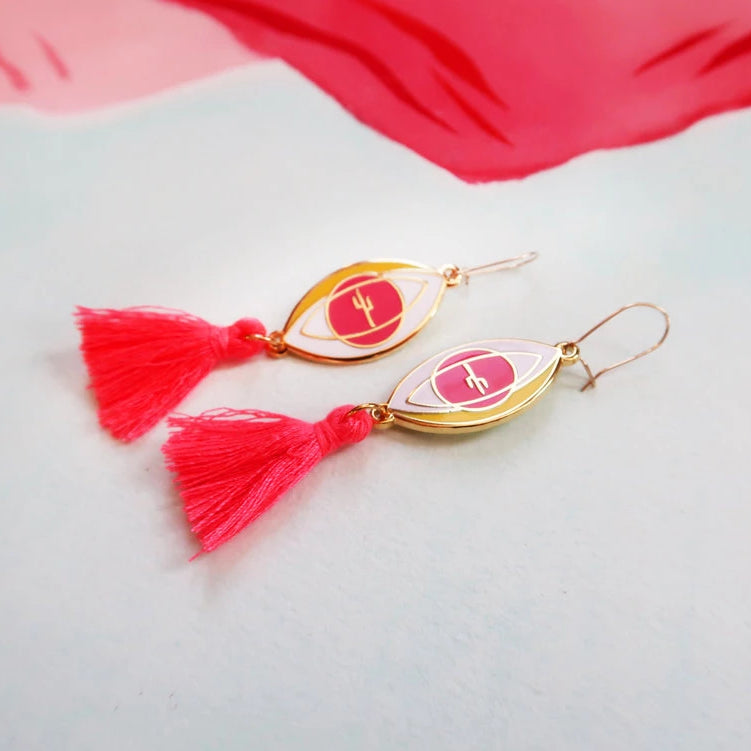"""Eye of the Desert"" Pink Tassel Earrings"
