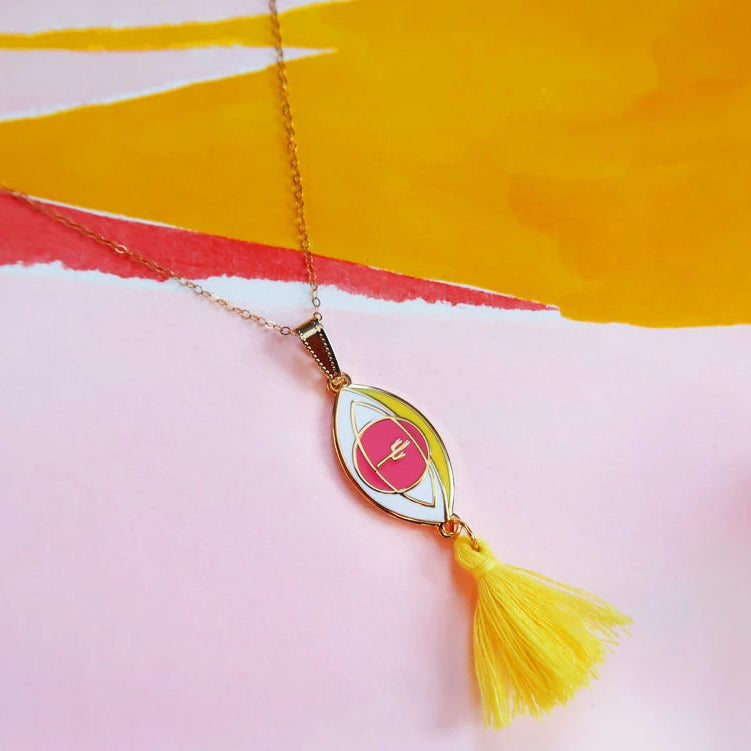 """Eye of the Desert"" Yellow Tassel Pendant Necklace"